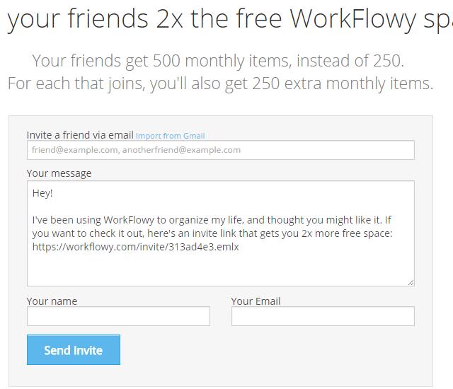 WorkFlowy 무료 공간 얻기